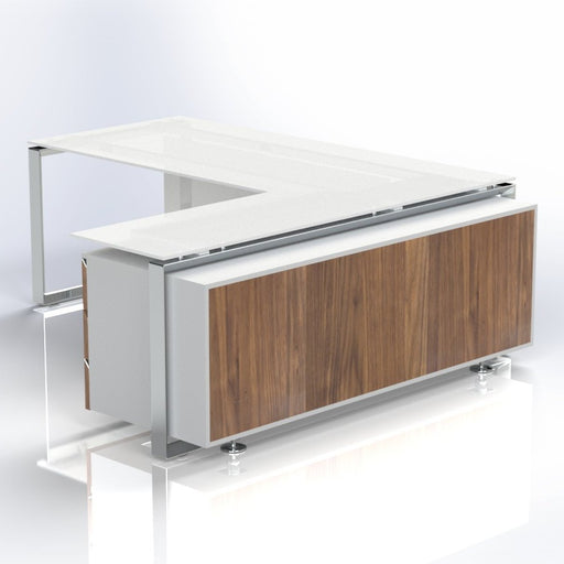 Diamond White Glass Desk with Credenza Storage