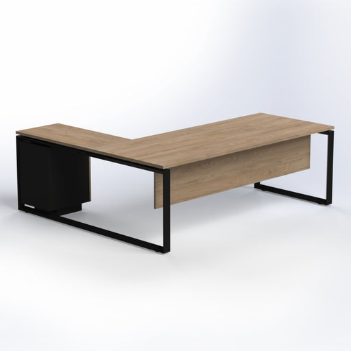 Diamond Desk with Fixed Pedestal & Black Steel Legs