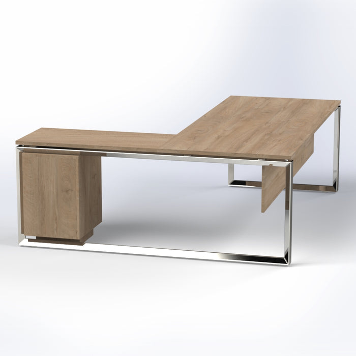 Diamond Desk with Fixed Pedestal & Stainless Steel Legs