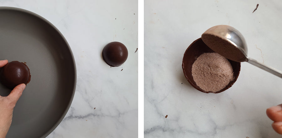 Add hot cocoa mix to shells.