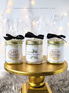 Each Modern Muslim Home candle is beautifully wrapped in a cellophane bag with a pretty ribbon bow. Fun crinkle paper makes it a little party in every package. 100% ready to gift someone!