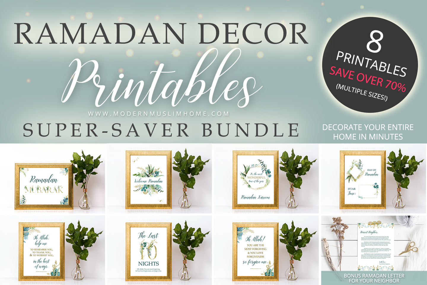 This is, without a doubt, the easiest and quickest way to decorate your home for Ramadan. This bundle includes almost ALL of our Ramadan Decor Printables for a stunning and cohesive look throughout your home. Simply download, print, and frame (or use however you wish)! This bundle is a limited-time offer, saving you more than 70% off.
