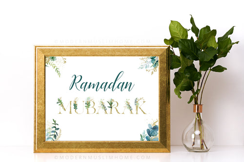 The easiest and quickest way to decorate your home for Ramadan! This stunning art printable is sure to up your Ramadan decor game. Simply download, print, and frame (or use however you wish)!