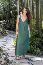 Load image into Gallery viewer, Campo Pine Linen Slip Dress