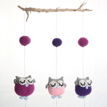 KoekSister Owl Mobile - 1 Pink & 2 Purple Owls