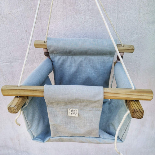 CANVAS MATERIAL BABY SWING MINT BLUE