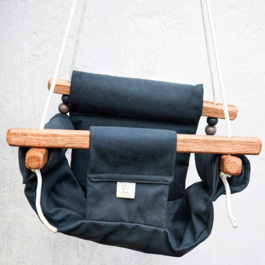 CANVAS MATERIAL BABY SWING CHARCOAL