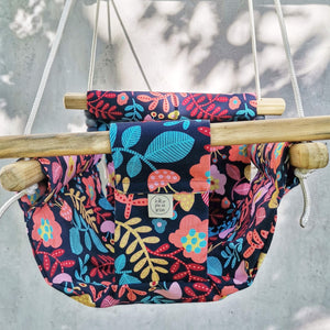 CANVAS MATERIAL BABY SWING FLOWER PRINT