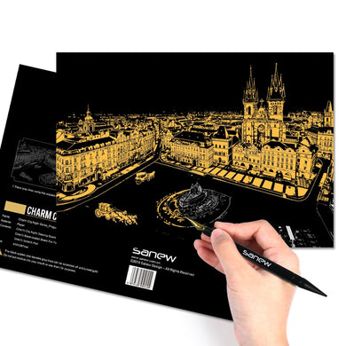 Scratch Art - City by night (Kratz-Malerei)