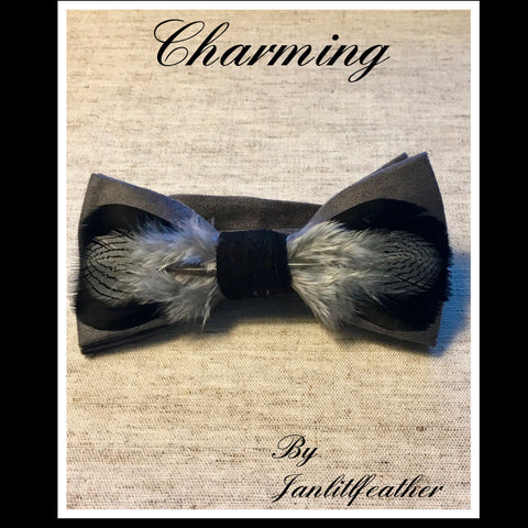 Charming Feather Bow Tie