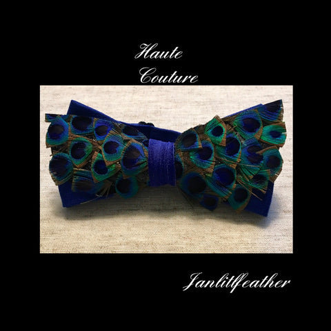 Haute Couture Blue Peacock Feather Bow Tie