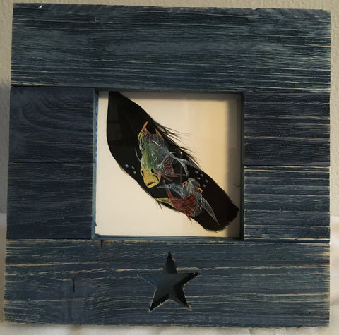 Hand painted Koi fishin a picture frame picture frame