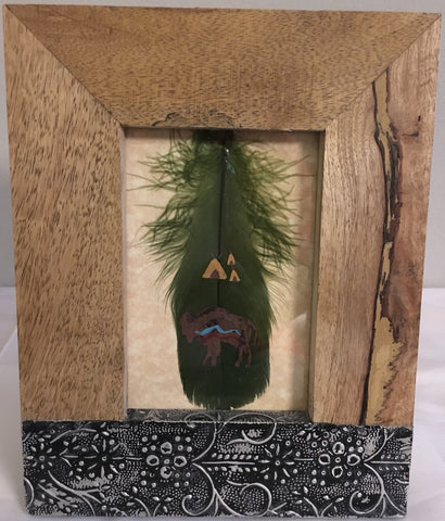 Hand painted feather with picture frame