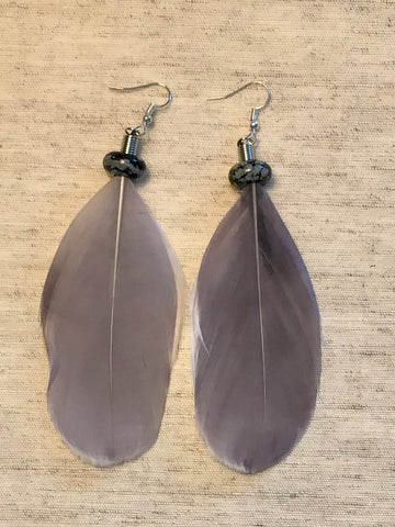 Natural snowflake Obsidian Feather Earrings
