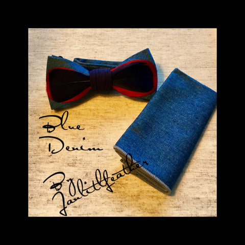 Blue Denim Feather Bow Tie with Denim Pocket Square