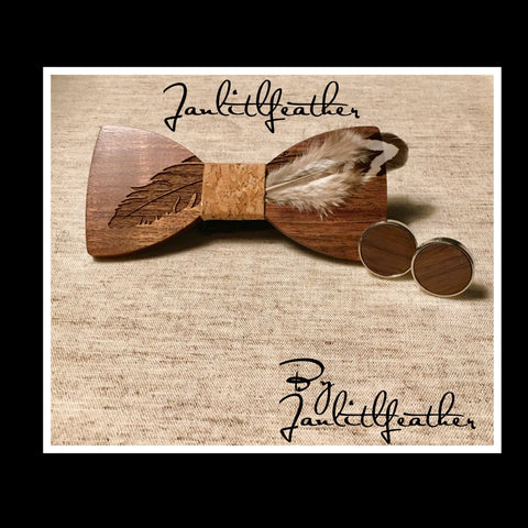 Janlitlfeather Wood Bow Tie and Cufflinks