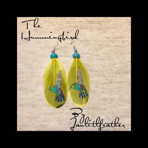 Hummingbirds Feather Earrings