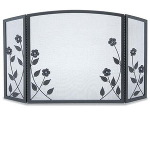 3 Panel Forged Floral Screen - McCready's Hearth and Home