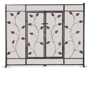 Flat Leaf & Vine Screen with Doors - McCready's Hearth and Home