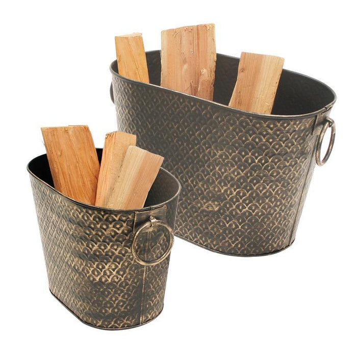 Harvest Wood Holder Tubs - Set of 2