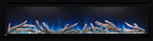 60 Deep Depth shown with NIGHT LIGHT  and Ember Bed on White with Blue Flames, Driftwood Logs and Glass Embers