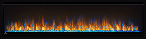 60 Slimline shown with Ember Bed on Blue with Multi-Color Flames and Crystal Glass Media