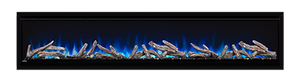 74 Deep Depth shown with NIGHT LIGHT  and Ember Bed on White with Blue Flames, Driftwood Logs and Glass Embers