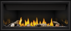 Linear 46 Shown with Black Premium Safety Barrier and Beach Fire and Shore Fire Kits combined