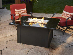 Black Grandstone Rectangular Gas Fire Pit Table - McCready's Hearth and Home
