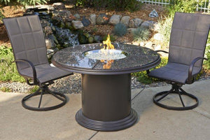 Brown Grand Colonial Dining Height Gas Fire Pit Table - McCready's Hearth and Home