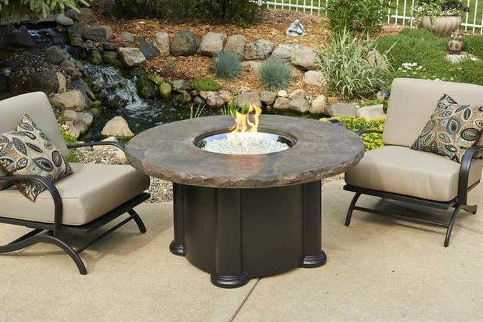 Marbleized Noche Colonial Chat Height Gas Fire Pit Table