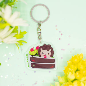 Hedgehog Blackforest Cake Acrylic Keychain