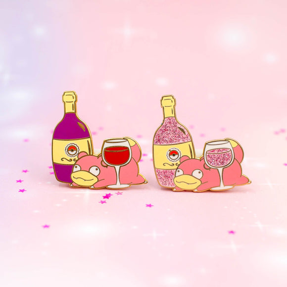 Slowpoke Red & Rose Wine Pin