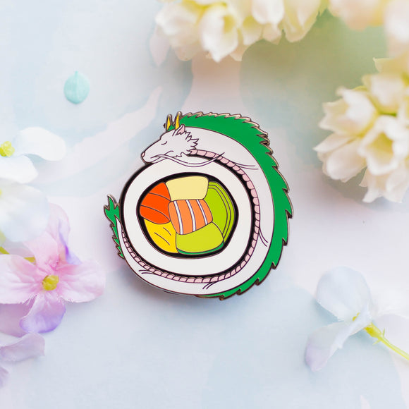 Haku Dragon Roll Sushi Enamel Pin