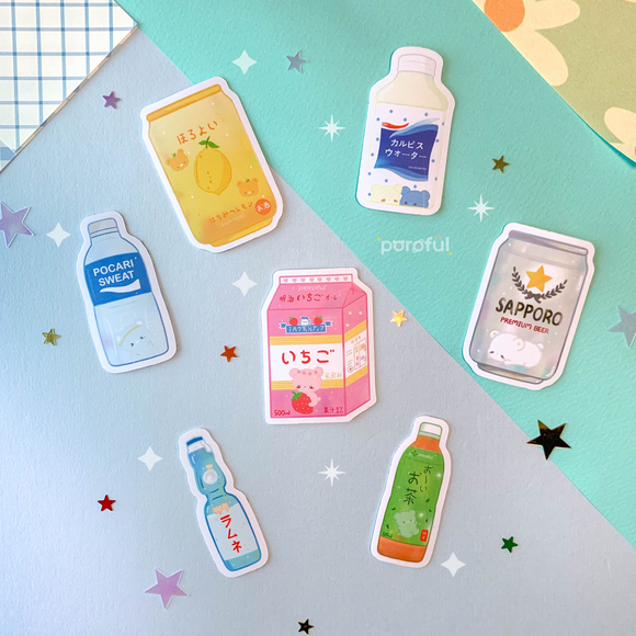 Konbini コンビニ Drinks Sticker Pack