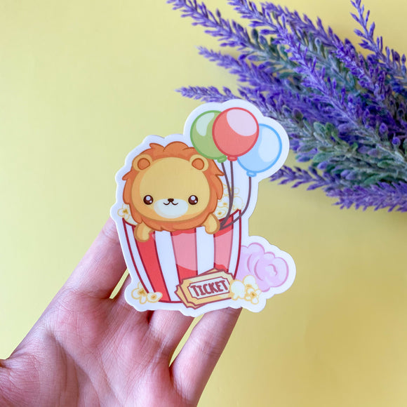 Popcorn Lion Vinyl Sticker