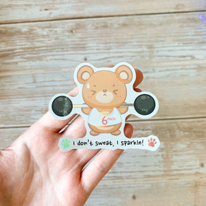 "Holographic ""I Don't Sweat, I Sparkle"" Teddy Bear Sticker"