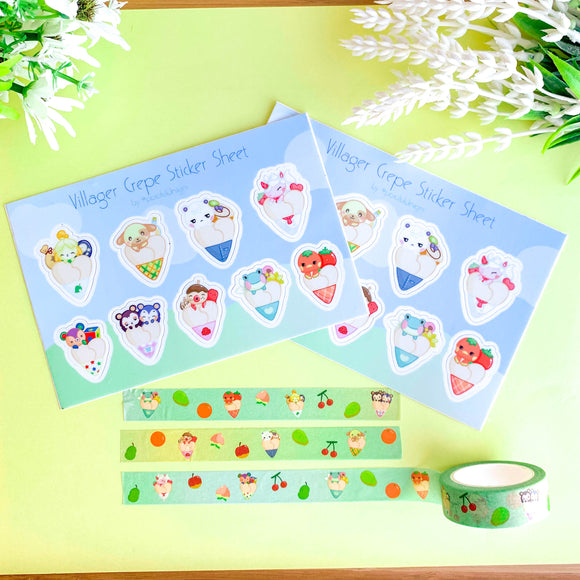 Animal Crossing Sticker Sheet & Washi Tape