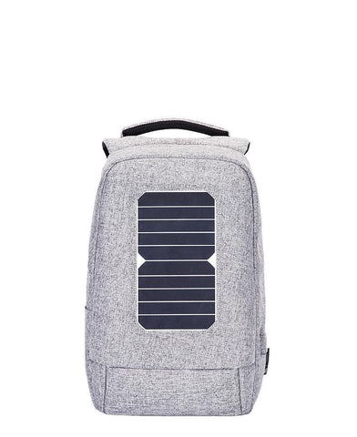 anti-theft antitheft anti theft backpack back pack bag solar panel power solarpanel solarpower recharging charging grey gray black
