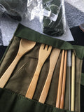 Natural 6-Piece Japanese Bamboo Cutlery Straw Set with Cloth Bag