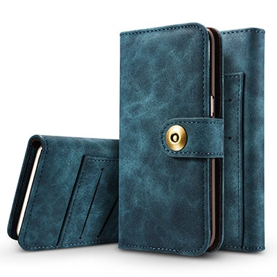 2 in 1 Magnetic Wallet Style Leather  Cover and Case for iPhone Series