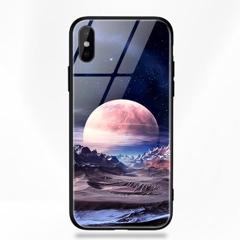 Tempered Glass Space Case For iPhone X XS XR