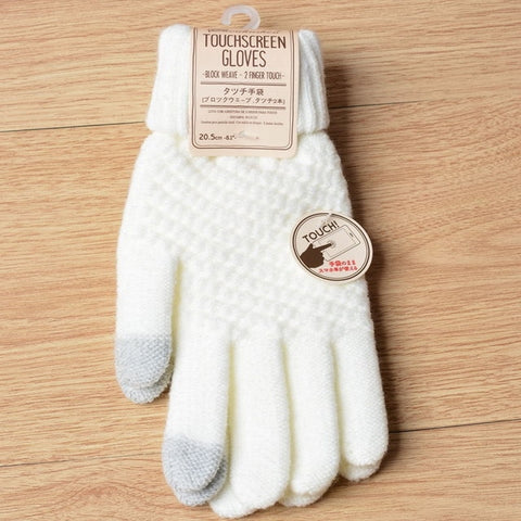Touch Screen Magic Gloves for Men & Women & Kids for Winter white