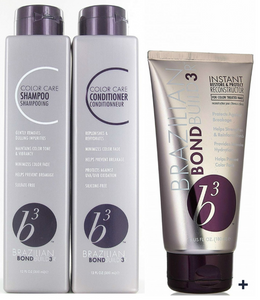 Brazilian Blowout B3 Bond Builder Color Care Shampooo, Conditioner, Reconstructor by Brazilian Blowout