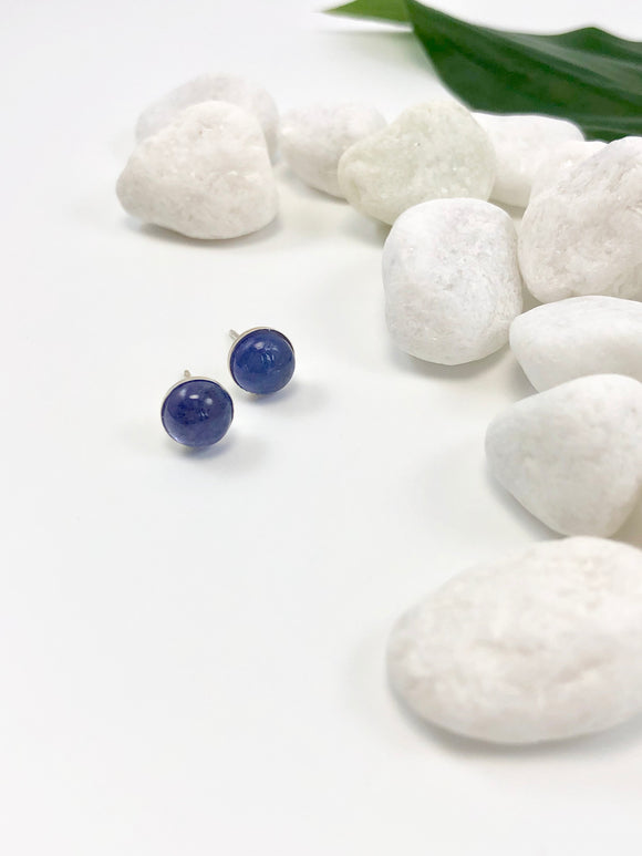 Blue Tanzanite Sterling Silver Stud Earrings
