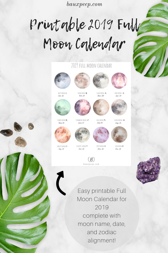 Printable 2019 Full Moon Calendar - Bauxpeep Boutique