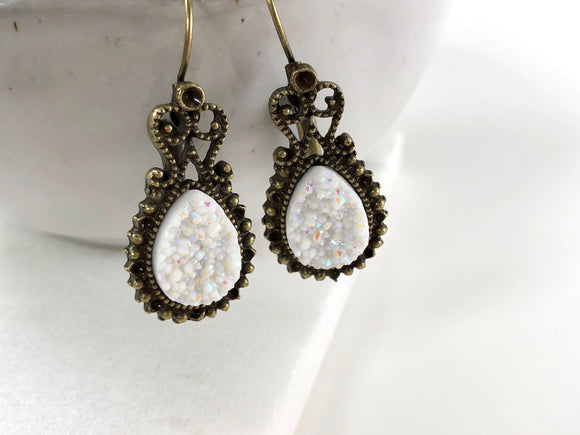 White Druzy Drop Earrings - Bauxpeep Boutique