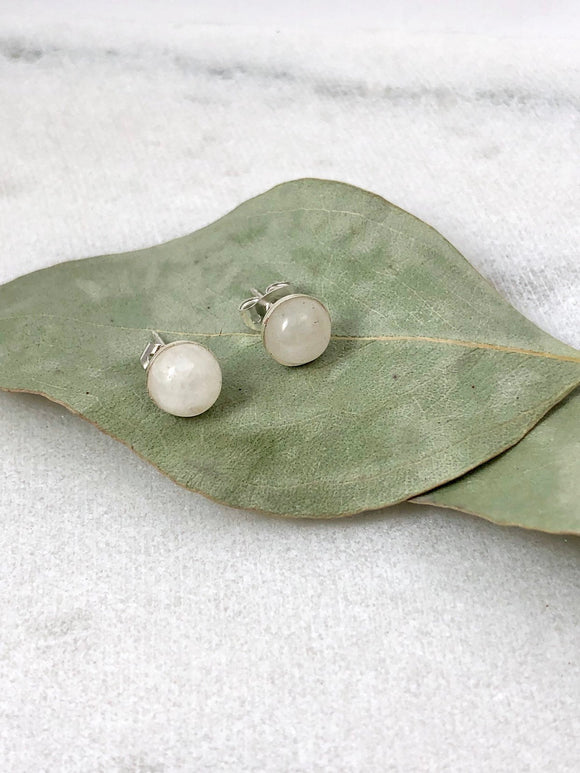 Moonstone Stud Earrings - Bauxpeep Boutique
