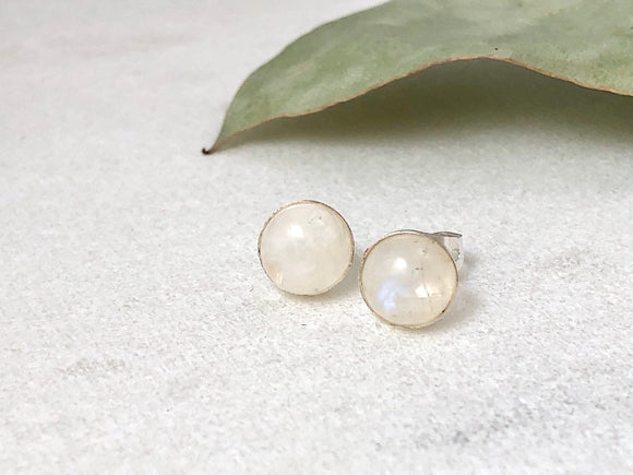 Moonstone Sterling Silver Stud Earrings - Bauxpeep Boutique