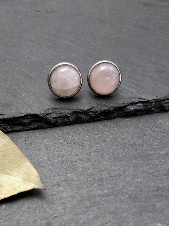 Polished Rose Quartz Crystal Studs - Bauxpeep Boutique